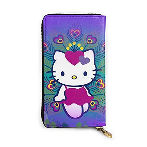 Hello Kitty Cartoon Anime Lindo Gato Cartera RFID Cuero Genuino Cartera con Cremallera Tarjetas Titular Organizador Bolsa de Embrague