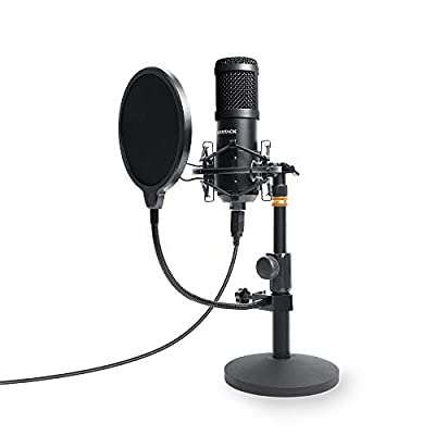 USB Podcast PC Microphone, SUDOTACK Professional 192KHZ/24Bit Studio Cardioid Condenser Mic Kit with Sound Card Desktop Stand Shock Mount Pop Filter, for Skype Youtuber Gaming Recording (ST810, Black)