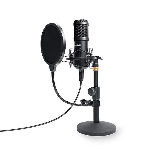 USB Mikrofon, SUDOTACK professionelles podcast mikrofon 192KHZ / 24Bit Studio Cardioid-Kondensatormikrofon-Kit mit Soundkarte Ständer Shock Mount Pop-Filter für Skype, Rundfunk, Youtube,Podcasts uvm