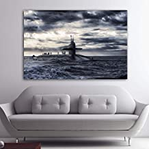 yaoxingfu Sin Marco Carteles e Impresiones Submarine Boat Sea Ocean Clouds Canvas ng Cuadros Home Decor Wall Art Pictures SIN Marco 50x70cm