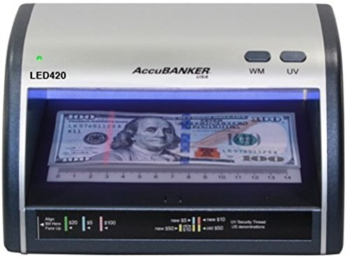 AccuBANKER Cash + Card Counterfeit Detector LED420 Money Checker with Superbright LEDs Ultraviolet & Size Detection