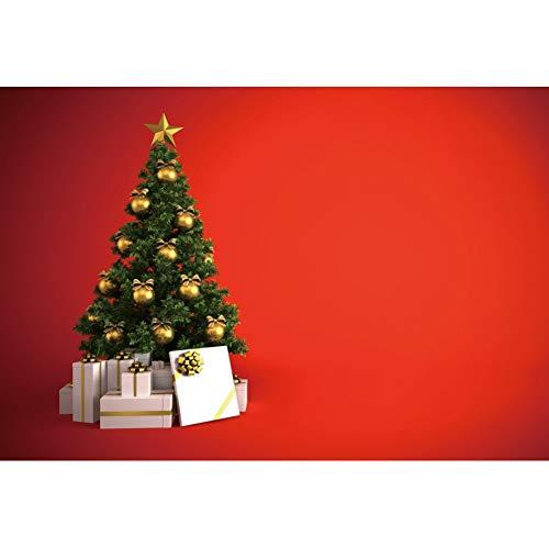 YongFoto 2,2x1,5m Navidad Fondo Árbol de Navidad con Manzana Dorada Decoración Regalo Fondo de Pantalla Rojo Fondo Feliz Navidad Víspera Retrato Producto Bandera Póster Fotografía Foto