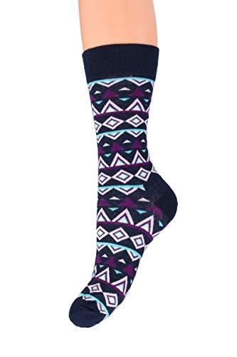 SOFTSAIL Unisex bunte Wadenlänge Socken Dicke Baumwolle Elastisch Warm Universal Gemusterte Strümpfe ZX3-6882 Gr. X-Large, Schwarz