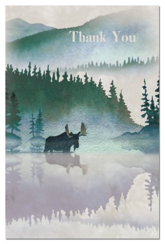 Tree-Free Greetings 94606 ECOnotes Thank You Card Set, 4 x 6 Inches, 12 Count Cards with Envelopes, Moose Watercolor