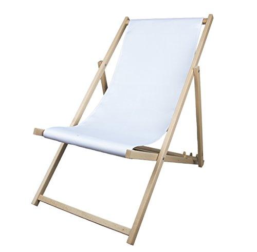 MultiBrands Liegestuhl, Holz, ohne Armlehne, klappbar (Weiß)