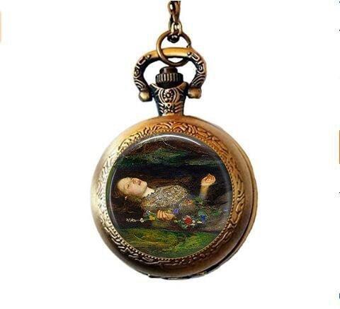 b2b John Everett Millias Death of Ophelia Taschenuhr, klassischer Kunstschmuck, Akademischer Kunstschmuck, Romantik