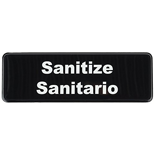 """Sanitize/Sanitario Sign Door Plate for Cafe Restaurant - Black and White, 9"""" x 3"""""""