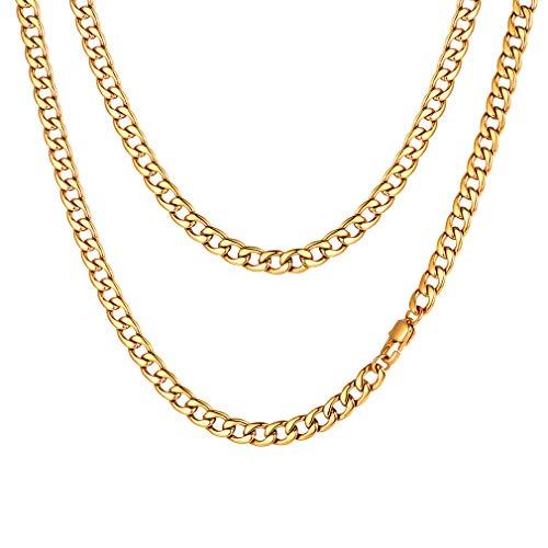 FaithHeart Collar de Eslabones Cubanos Acero Inoxidable 5/9/12 MM Ancho 45-75CM Largo para Hombre y Mujer Choker Gargantilla Gruesa con Crucifijo/Cerradura/Medallas
