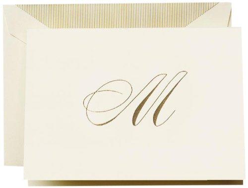 Crane & Co. Hand Engraved Script'M' Initial Note (CF13M1)