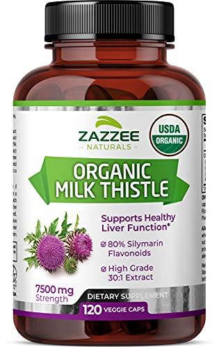 Zazzee USDA Organic Milk Thistle Extract Capsules, 120 Vegan Capsules, 7500 mg Strength, 80% Silymarin Flavonoids, Potent 30:1 Extract, USDA Certified Organic, Vegan, Non-GMO and All-Natural
