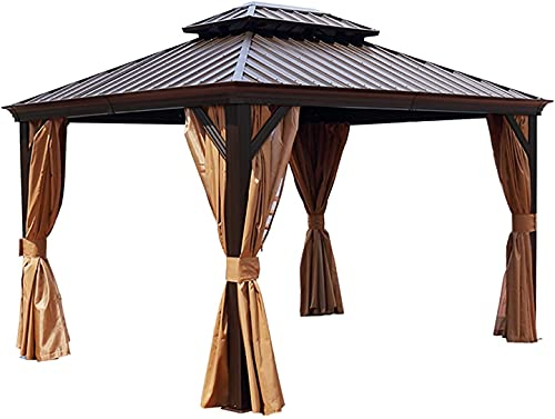 HXCD Shelter Outdoor Hardtop Gazebo with Netting and Curtains, Double Waterproof Roof Pergolas Aluminum Frame, Patio Gazebo Canopy for Gardens