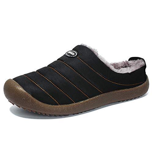 Zapatillas de Casa para Hombre Invierno Caliente Pantuflas Casa Algodón Slippers Interior Al Aire Libre Zapatos Negro Azul Verde 37-48 BK48