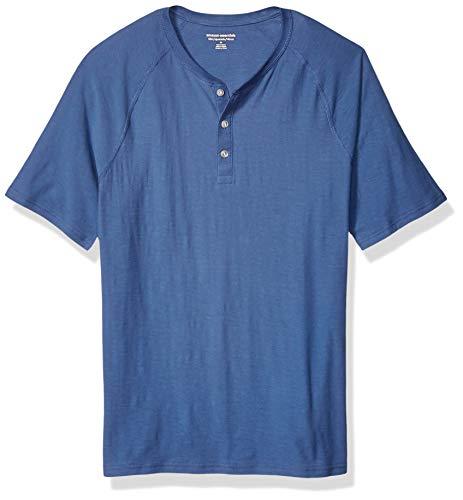 Amazon Essentials - Camiseta ajustada de manga corta estilo henley hecha de algodón flameado para hombre