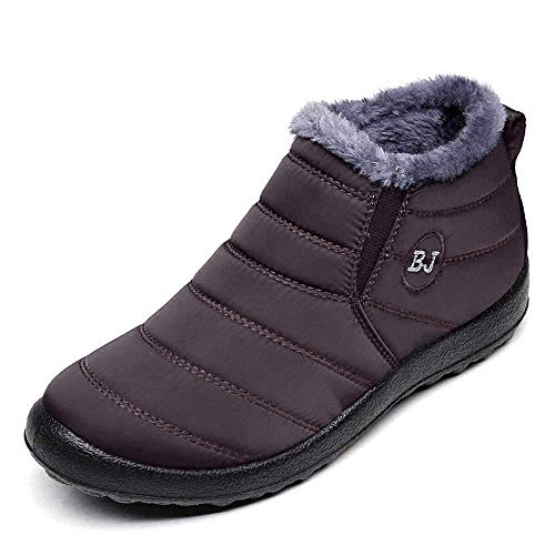 BOLOMEE Women Winter Snow Ankle Boots Fur Lining Waterproof Outdoor Slip On Booties Sneakers Coffee Men US 10.5