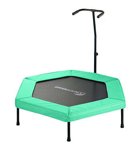 Upper-Bounce-Hexagonal-Fitness-Mini-Trampoline-with-Adjustable-Hand-Rail-Bungee-Cord-Suspension