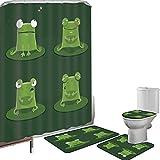 Duschvorhang Set Badezimmerzubehör Teppich Lustig Badematte Contour Teppich Teppichbezug Lustiger Muzzy Frog auf Lily Pad im Teich,der geschmackvolles Fliegen-Ausdrucks-Cartoon-Tier,Flaschengrün jagt
