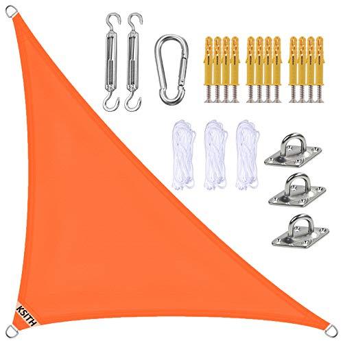 KSITH Toldo Vela De Sombra, Triángulo Impermeable Prueba de Viento Protección UV Vela de Sombra, con Kit Montaje, para Patio Exteriores Jardín- Orange|| 4x4x5.7m(13x13x19ft)
