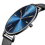 LIGE Montre Homme Mode Unisexe Montres Bleu Étanche Élégant Simple Quartz Analogique Montre Hommes Acier Inoxydable Engrener Montres Bracelet Noir