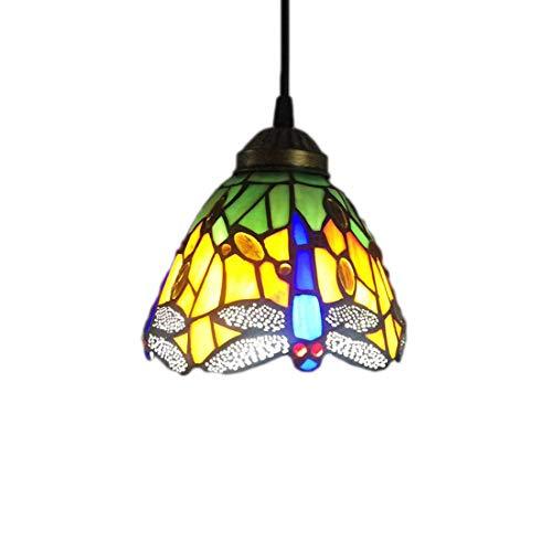 DALUXE Lámpara de araña de Estilo Tiffany, luz del Colgante de libélula Amarilla, lámpara de balcón de Sala de Estar de Pasillo E27 * 1
