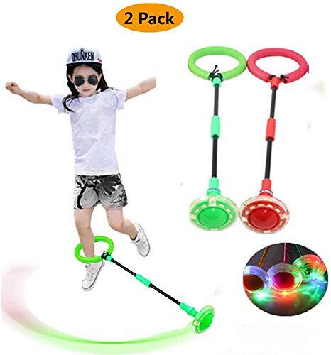COOBNO 2 piezas de anillos de salto intermitentes LED coloridos para saltar al tobillo cuerdas de saltar deportes balancín pelota para ejercicios de fitness y entrenamiento, juego de regalo para niños