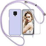 Nupcknn Funda Silicona con Cuerda para Xiaomi Redmi Note 9S/ 9 Pro/Pro MAX,1×Protector Pantalla Carcasa Suave Silicona Case con Correa Colgante Ajustable Collar Correa de Cuello Cadena Cordón(Púrpura)