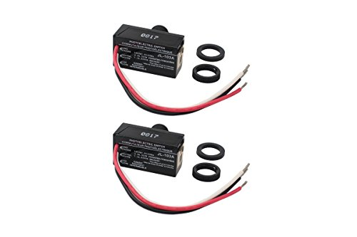 XtremeAmazing Pack of 2 Dusk to Dawn Outdoor Hard-Wired Post Eye Electric Resistor Photocell Light Control Sensor Button Switch LED HID CFL JL-103A