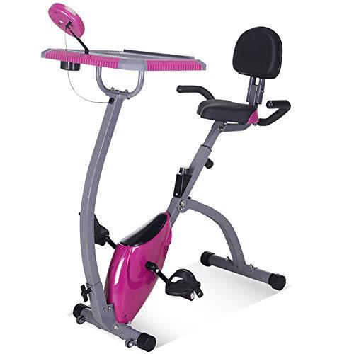 HHH Ciclismo de Interior Bicicleta Movible y Plegable con Asientos de Seguridad y Mesa de Trabajo Ejercicio Corporal Ejercicio Bicycle Calorías Ardientes Bike,Pink