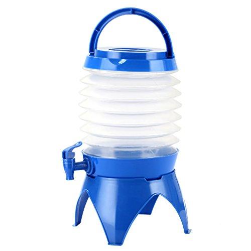 WINOMO Bidon de camping pliable avec fond et robinet pour extérieur, camping, voyage, 5 l (bleu)