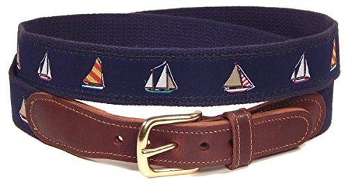 Preston Leather Nautical Sailboats Novelty Belt Blue (38)