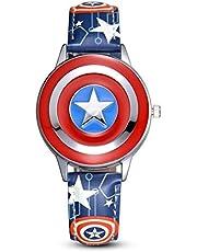 Towel Rings Captain America Orologio per Bambini Anime Cartoon Boy Student Marvel Avengers Flip Orologio al Quarzo Impermeabile