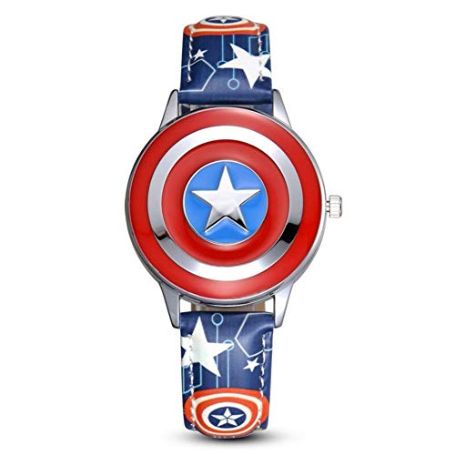 Towel Rings Capitán América Reloj para Niños Anime Cartoon Boy Student Marvel Avengers