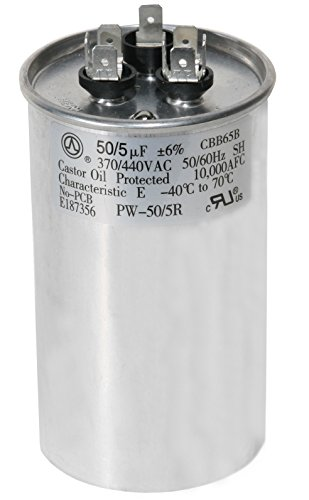 PowerWell 50 + 5 MFD uf PW-50/5/R 370 or 440 Volt Dual Run Round Capacitor for Condenser Straight Cool or Heat Pump Air Conditioner 50/5 Micro Farad - Guaranteed to Last 5 Years