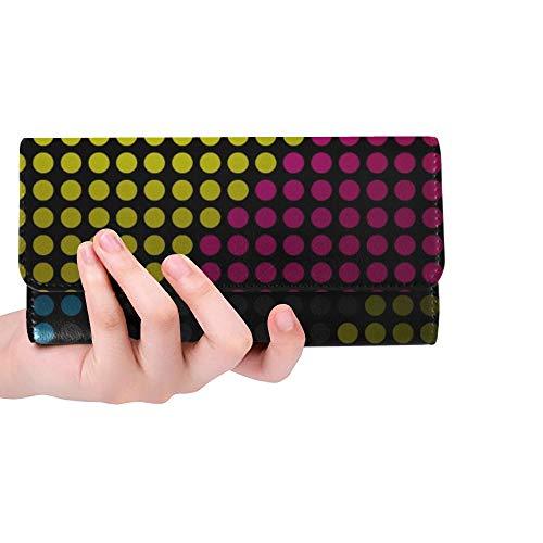 Unique Custom Minimalistic Colorful Dots Col X Wallpaper Women Trifold Wallet Long Purse Credit Card Holder Case Handbag
