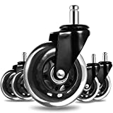 Awefrank Office Chair Wheels, Rubber Office Chair casters for Hardwood Floors and Carpet, Set of 5, Heavy Duty Casters & Safe Fit for Chairs, Universal Replace Office Chair Casters
