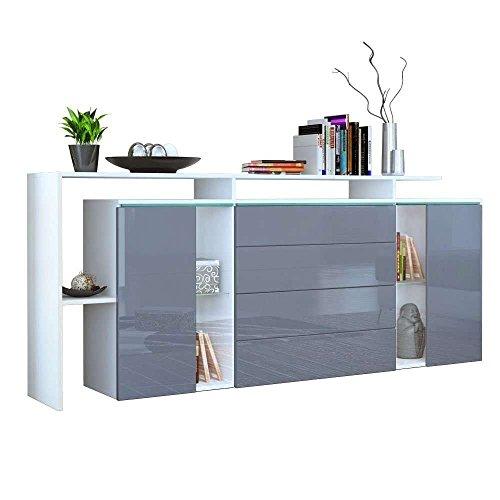 Credenza moderna modello Lecce L185, mobile bianco e grigio lucido disponibile in 13 finiture art.3213