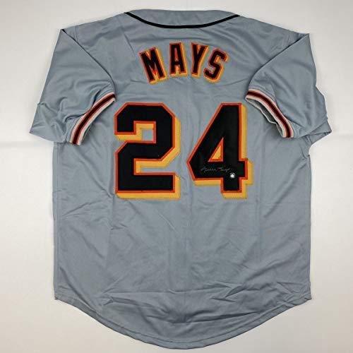 Autographed/Signed Willie Mays San Francisco Grey Baseball Jersey Say Hey Holo COA
