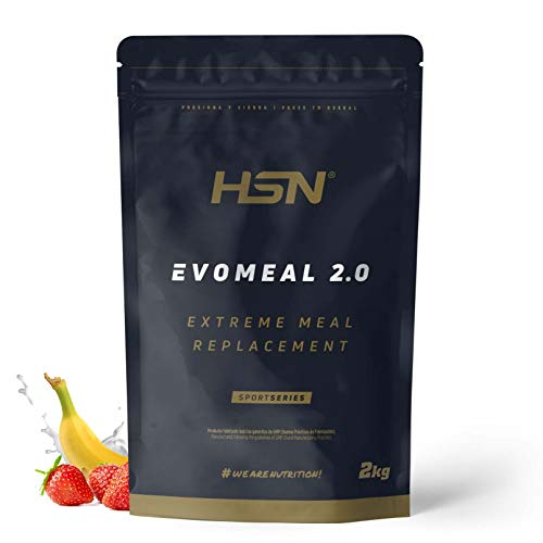 Batido Sustitutivo de Comida Evomeal de HSN | Batido Sin Gluten Apto para Vegetarianos | Proteínas + Carbohidratos + Vitaminas + Minerales + CLA | Sabor Fresa - Banana, 2Kg