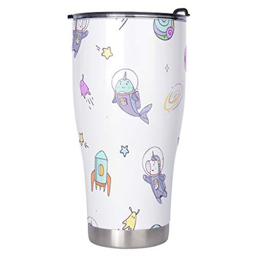 DAMKELLY Store Vaso de viaje de acero inoxidable espacial con diseño de unicornio, duradero, con tapa transparente, 900 ml