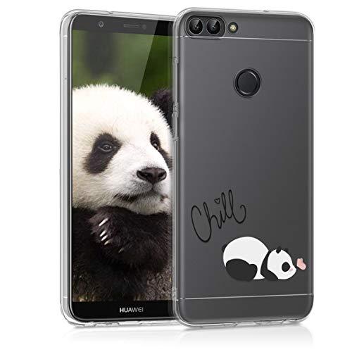 kwmobile Funda Compatible con Huawei Enjoy 7S / P Smart (2017) - Carcasa de TPU y del Panda y la Mariposa en Negro/Blanco/Transparente