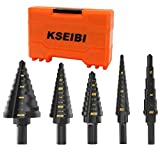 KSEIBI Step Drill Bit Set 5 Pieces Pack High Speed Steel Black Oxide M2 Multiple Hole 50 Sizes 1/8- 1-3/8 inch SAE Standard Drill Attachment (KS-575105)
