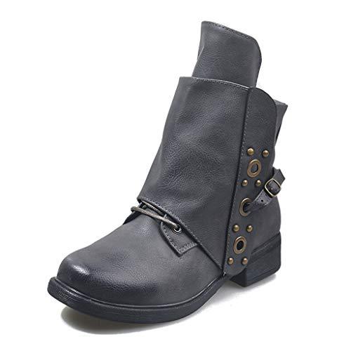 UMore Damen Stiefeletten Vintage Leder Ankle Boots Flach Spitze Stiefel Kurzstiefel Frauen Mode Bequem Kurz Stiefeletten mit Blockabsatz Schnallen Nieten