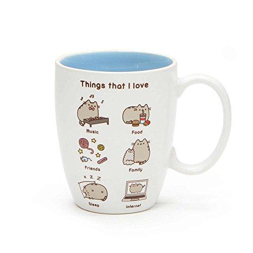 Unbekannt GUND Pusheen Our Name is Mud Things I Love Mug, Stoneware, Multicoloured, 13 x 9 x 10 cm