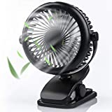 Stroller Fan Clip on Fan, USB Fan with Adjustable Speeds, Rechargeable 2200mA Battery, 360° Rotation, Mini Portable Table Fan Personal Fan for Baby Stroller Office Outdoor Travel