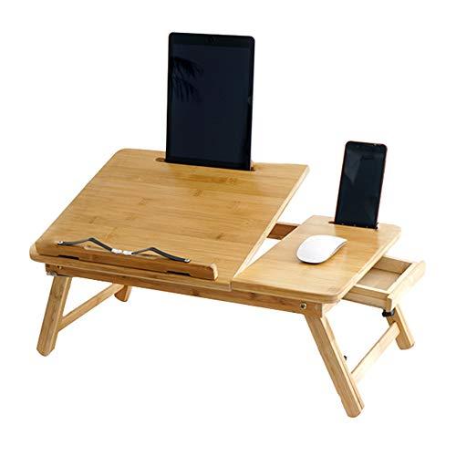 Ascensor plegable escritorio del ordenador portátil,La madera del hogar se puede ajustar a 4 alturas mesita de noche con una bandeja Niño mesa escritorio del estudiante Con cajón basculante