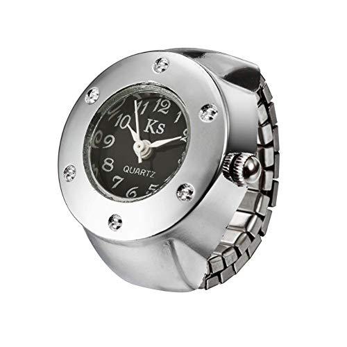 Nowbetter Elegante anillo elástico para el dedo, creativo, redondo, de acero inoxidable, anillo de boda, compromiso, accesorios de joyería de regalo para mujeres y niñas (negro)