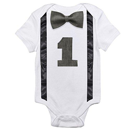 NNJXD Pajarita infantil mameluco para el primer cumpleaños divertido del niño Talla(1) 1 Años Gris