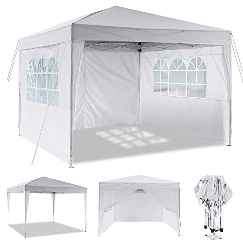 Laiozyen 3 x 6 m Waterproof Pop Up Gazebo Marquee Water Resistant Tent with Side Panels & Storage Bag for Outdoor Wedding Garden Party (3 x 3 m, Snowy)