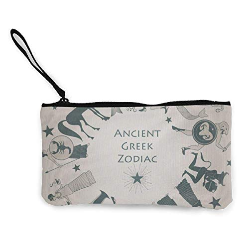 Zodiac Wheel in The Style of Ancient Greece Women and Girls Cute Fashion Canvas Coin Purse Change Cash Bag Zipper Small Purse Wallets for Keychain Money Travel Pouches