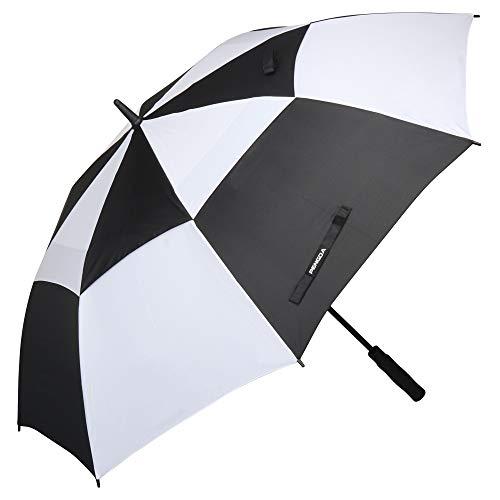 Automatik Golf Regenschirm - 158 cm / 62 Zoll Groß Stockschirm GolfSchirme für Herren männer Familiengebrauch Robust Sturm geschützt durch Doppelkappe mit Windöffnung (Schwarz & Weiß)