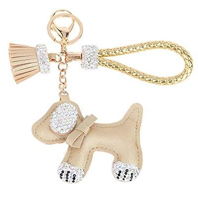Fawziya Dog Keychain With Tassle Rhinestone Keychains-Gold